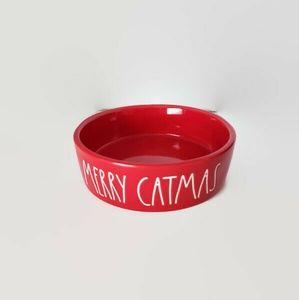 NEW Rae Dunn Red MERRY CATMAS Pet Bowl